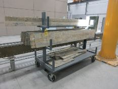 (2) LUMBER CARTS, (1) ULINE STOCK CART W/ ASSORTED TRIM BOARDS, PLYWOOD CUTS
