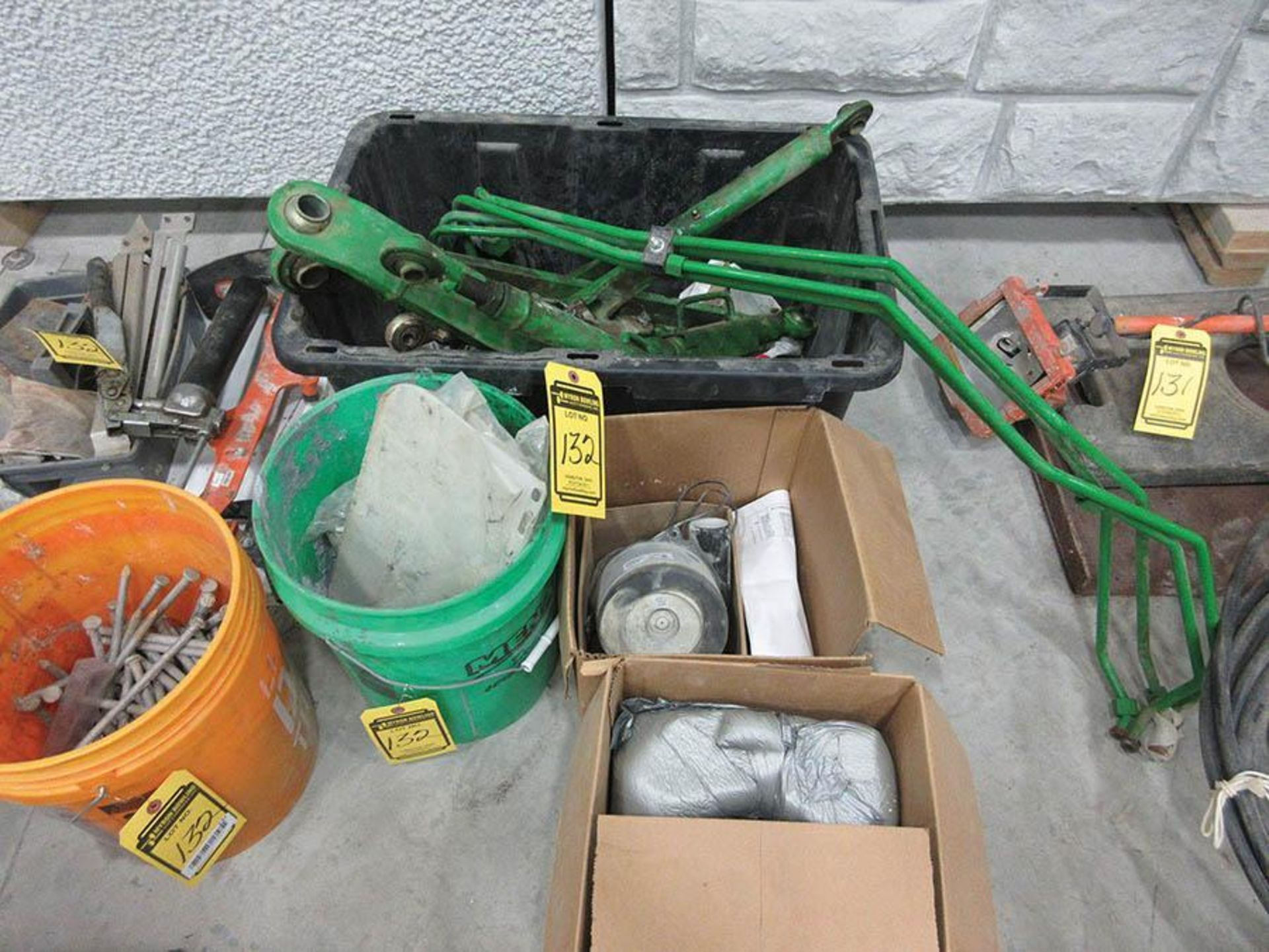JOHN DEERE PARTS,SPIKES, NAILS, GREASE GUN, OTHER - Image 2 of 3