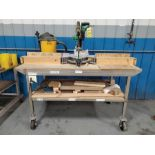 HITACHI 12'' COMPOUND MITER SAW, MODEL C-12FDH, WITH SHOP VAC DEBRIS SYSTEM, ON STAINLESS STEEL