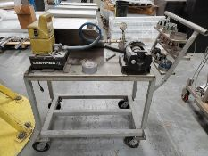 HYDRAULIC FLARING MACHINE W/ENERPAC POWER, ON CUSTOM STEEL CART, SPARE DIES