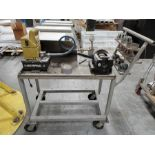 HYDRAULIC FLARING MACHINE W/ENERPAC POWER, ON CUSTOM STEEL CART, SPARE DIES