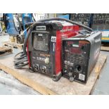 LINCOLN POWERWAVE S350 MIG WELDER WITH LINCOLN 25M POWER FEED, DRO, ALL LEADS, GROUNDS AND HEAD