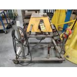 POWER PIPE THREADER ON STAINLESS CART WITH QUANTITY OF DIES & TOOLS WITH RIDGID 318 OILER