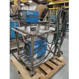 MILLER XMT 300 CC/CV DC INVERTER ARC WELDER ON STAINLESS CART WITH MILLER S-22A 24V CONSTANT WIRE