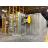 POWDER PAINT POLYMERIZATION OVEN, CABIN 27M LONG BY 3M HIGH, 2 EXIT DOORS 1M BY 1.80M HIGH