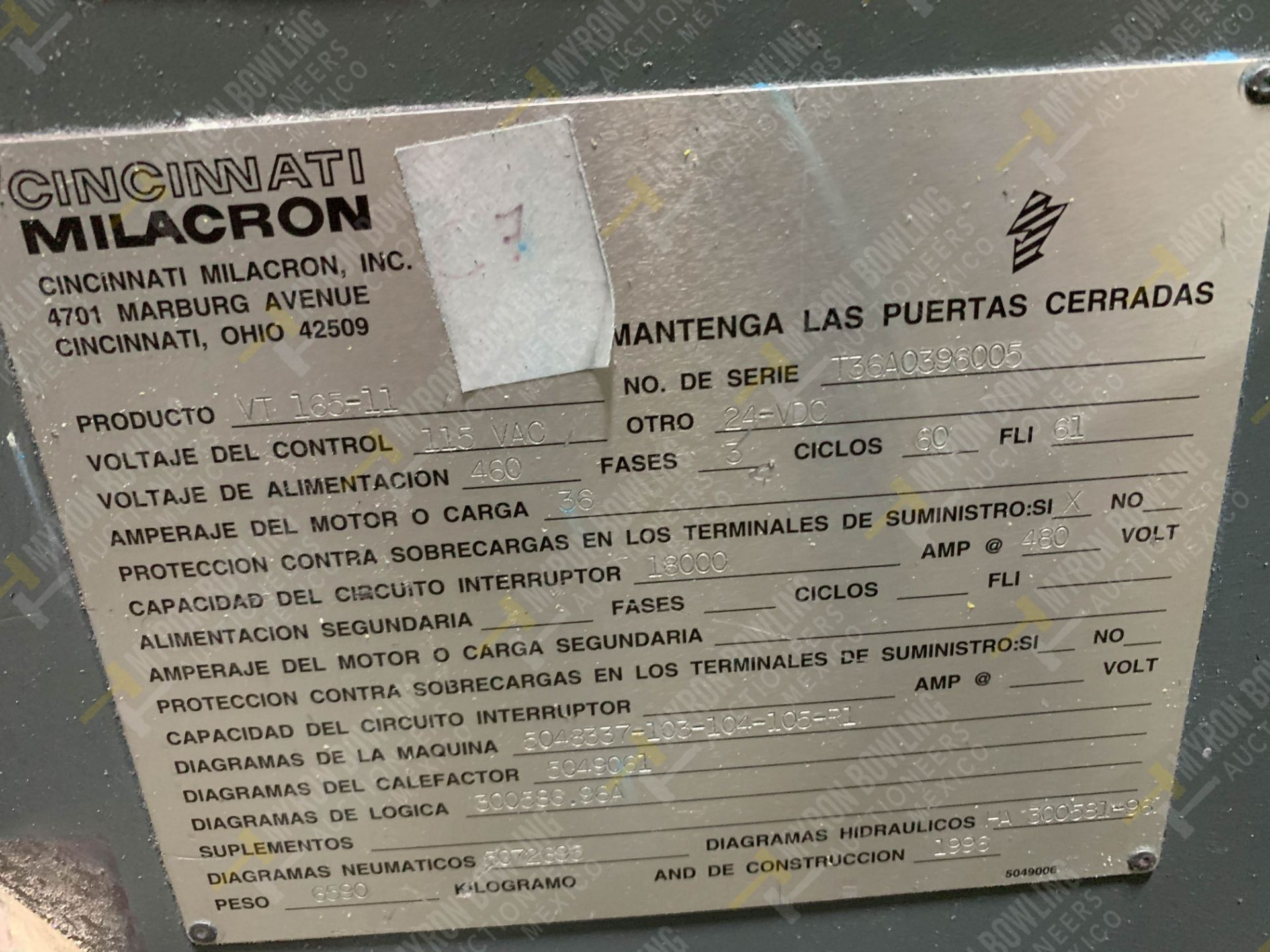 Lot 7 - 165 TON CINCINNATI MILACRON VT165-11 PLASTIC INJECTION MOLDING MACHINE, MFG YEAR 1996