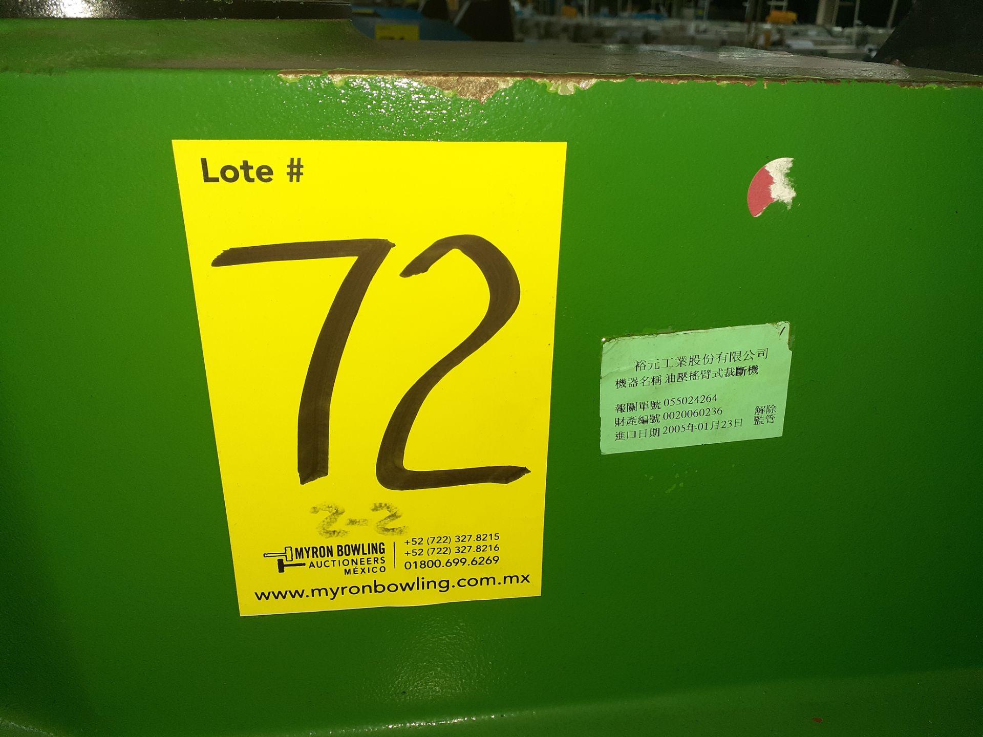 Lot 72 - (2) Prensas de corte hidráulica de brazo oscilante, marca Ying Hui Machine, Modelo: YG-520