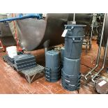 (14) Brute Garbage Cans, (5) Plastic Stands, (1) Stainless Steel Stand with Fiber | Rig Fee: $50