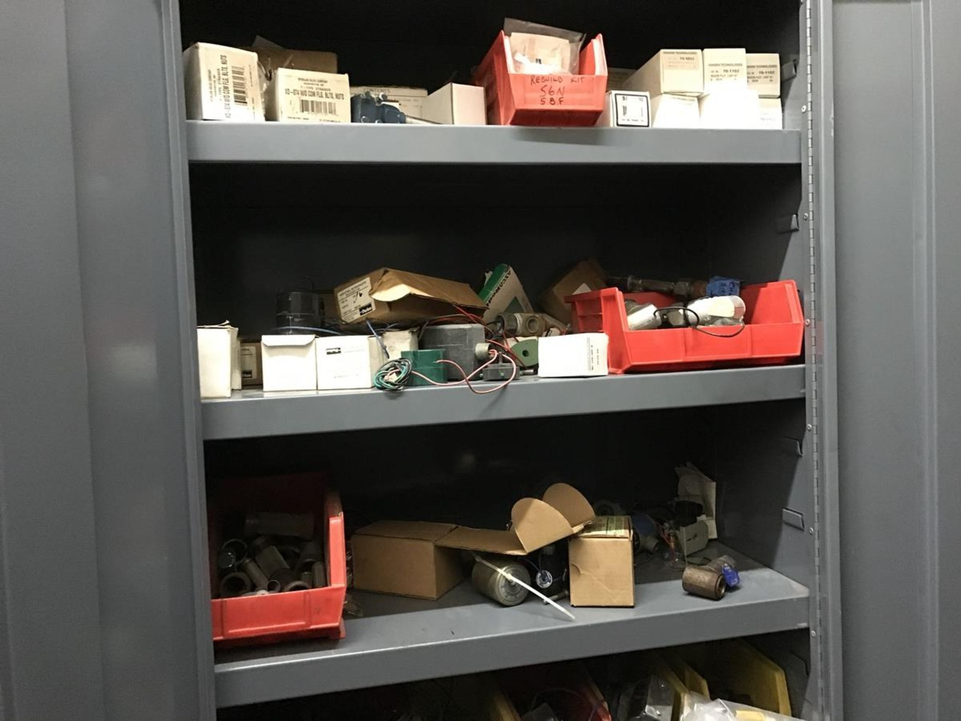 Lot 197 - Contents of Room with 10 Cabinets, Ammonia Parts, Work Bench, Cart, File Cabinets | Rig Fee: $1000