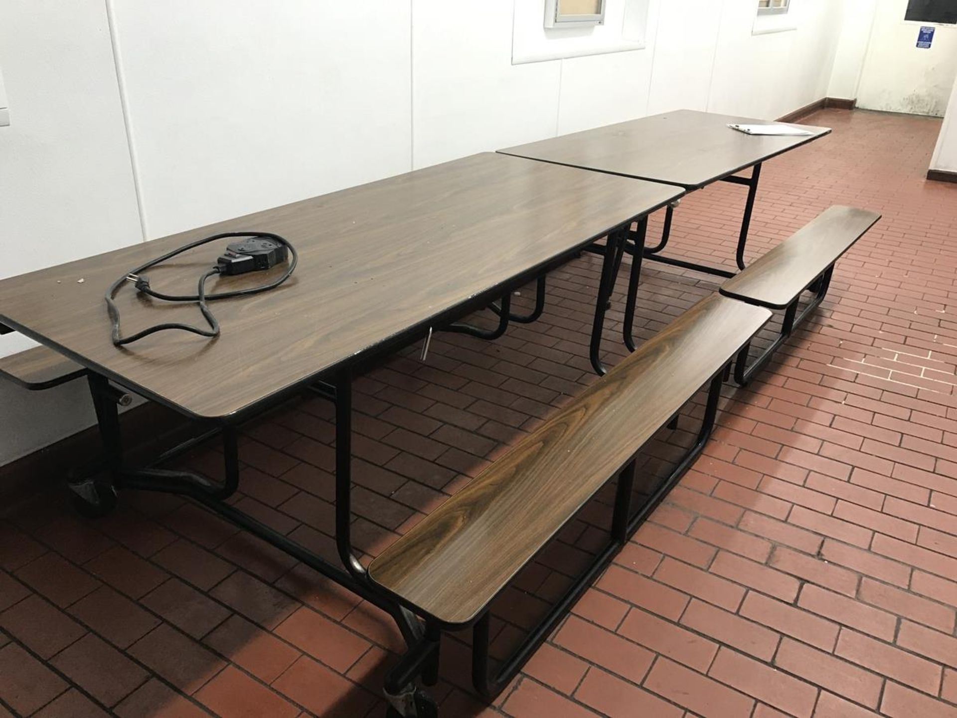 Lot 359 - (2) Folding Picnic Tables, Metro Racking, 4 Wheel Cart in lunch room, microwave | Rig Fee: $150