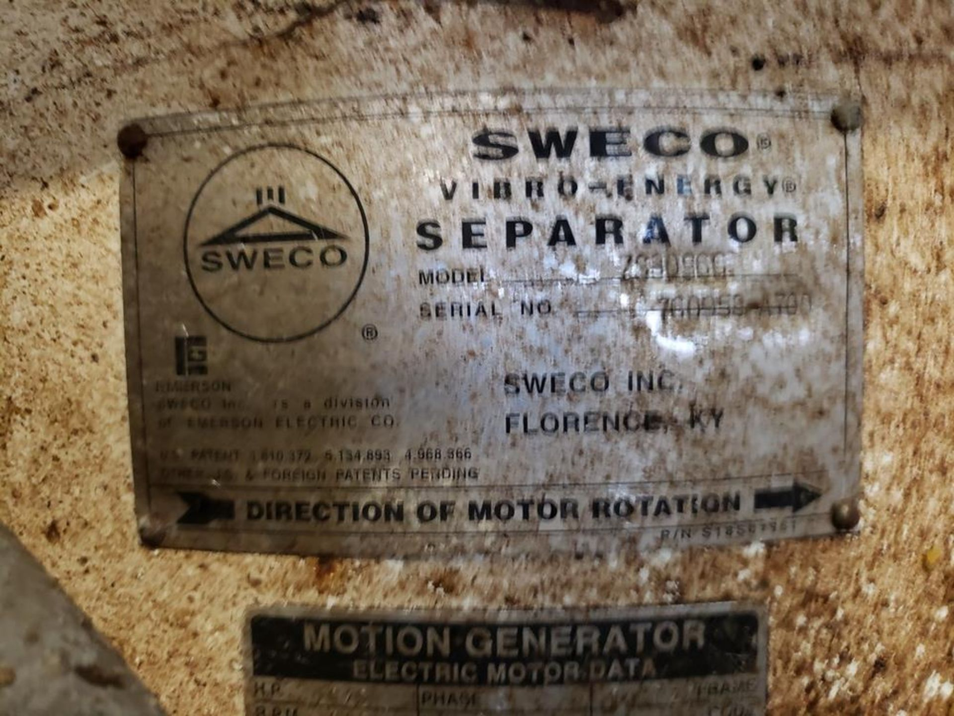 Lot 398 - Sweco Separator Sieve, M# XS30960, S/N 760953-A700 | Rig Fee: $150