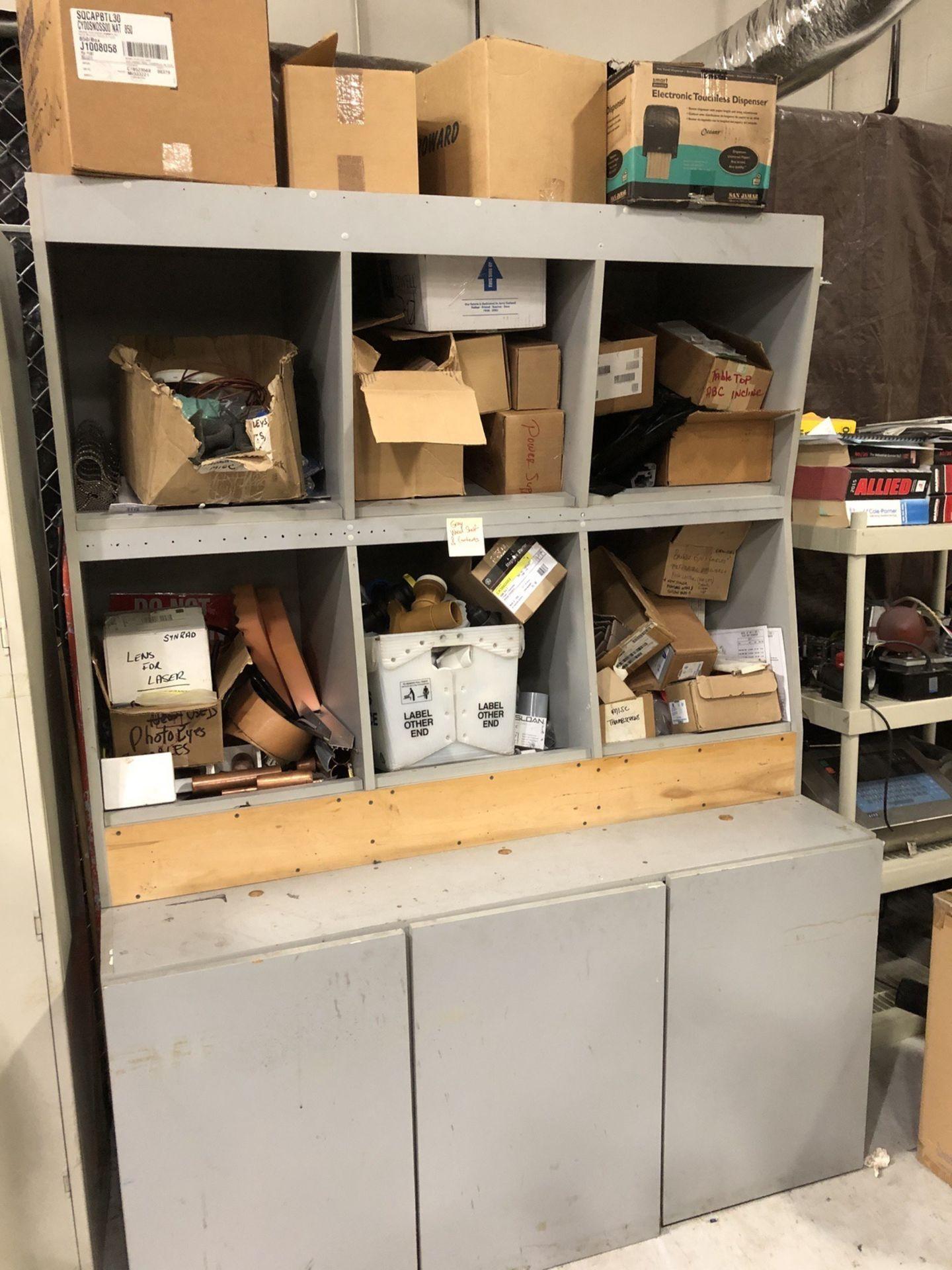 Lot 114 - 3-Door Wood Shelve With Contents - Grey   Rig Fee: $25 or Buyer Remove