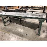 Green Gravity Roller Conveyor, Approx 7ft   Rig Fee: $25