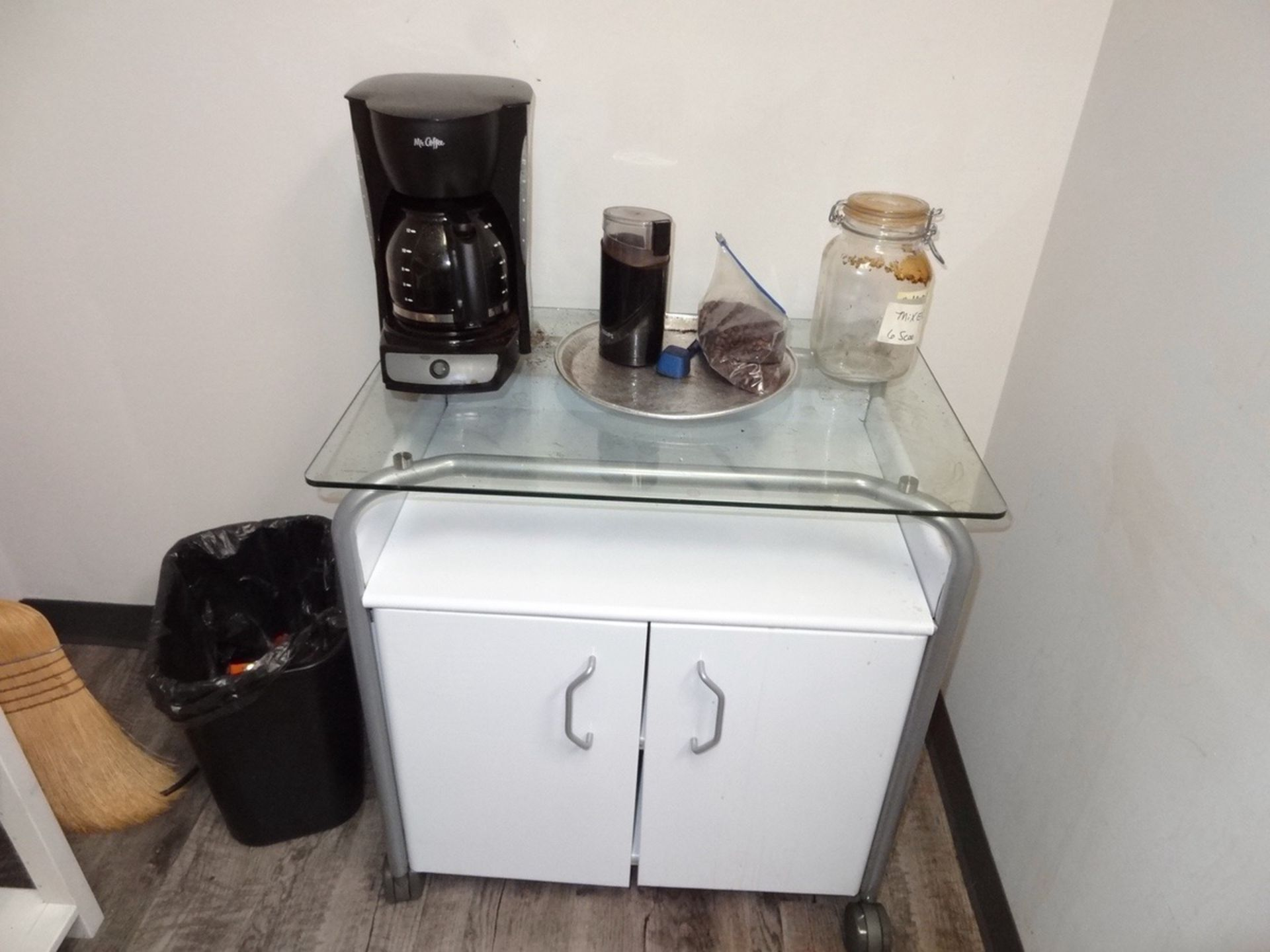 Lot 152 - Office Supply Room - Refrigerator/Freezer, Shelving Contents, Coffee She   Rig Fee: See Full Desc