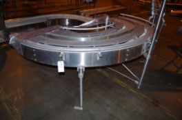 "Stainless Steel 180 Degree Turn Conveyor Frame, approx 5 1/2"" W 