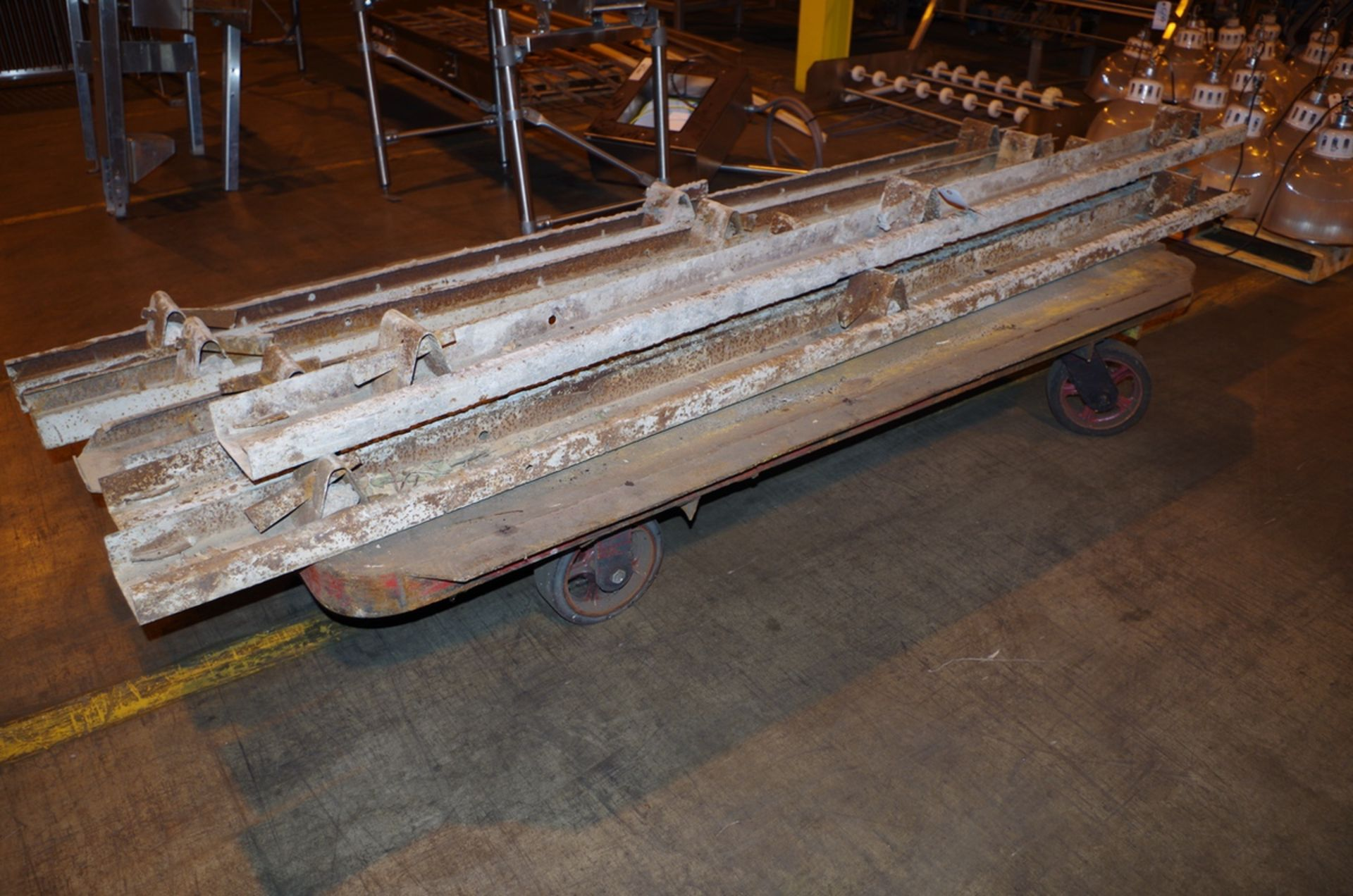 Lot 57 - Heavy Duty Steel Cart with (6) Concrete Forms, approx 8' L   Rig Fee: $50