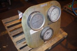 Gauge plate with (3) Ammonia Vacuum Pressure Gauges, 30-150/30-300 PSI | Rig Fee: $50