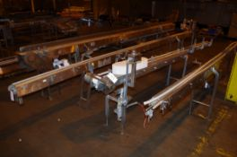 (4) Stainless Steel Conveyor Frame Units, 1 with drive motors, 2 with 45 degree tur | Rig Fee: $200