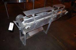Stainless Steel conveyor frame with drive unit, approx. 7' L x 3' H | Rig Fee: $50