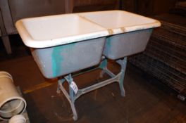 Two-Bay Sink with Cast Iron Stand | Rig Fee: $50