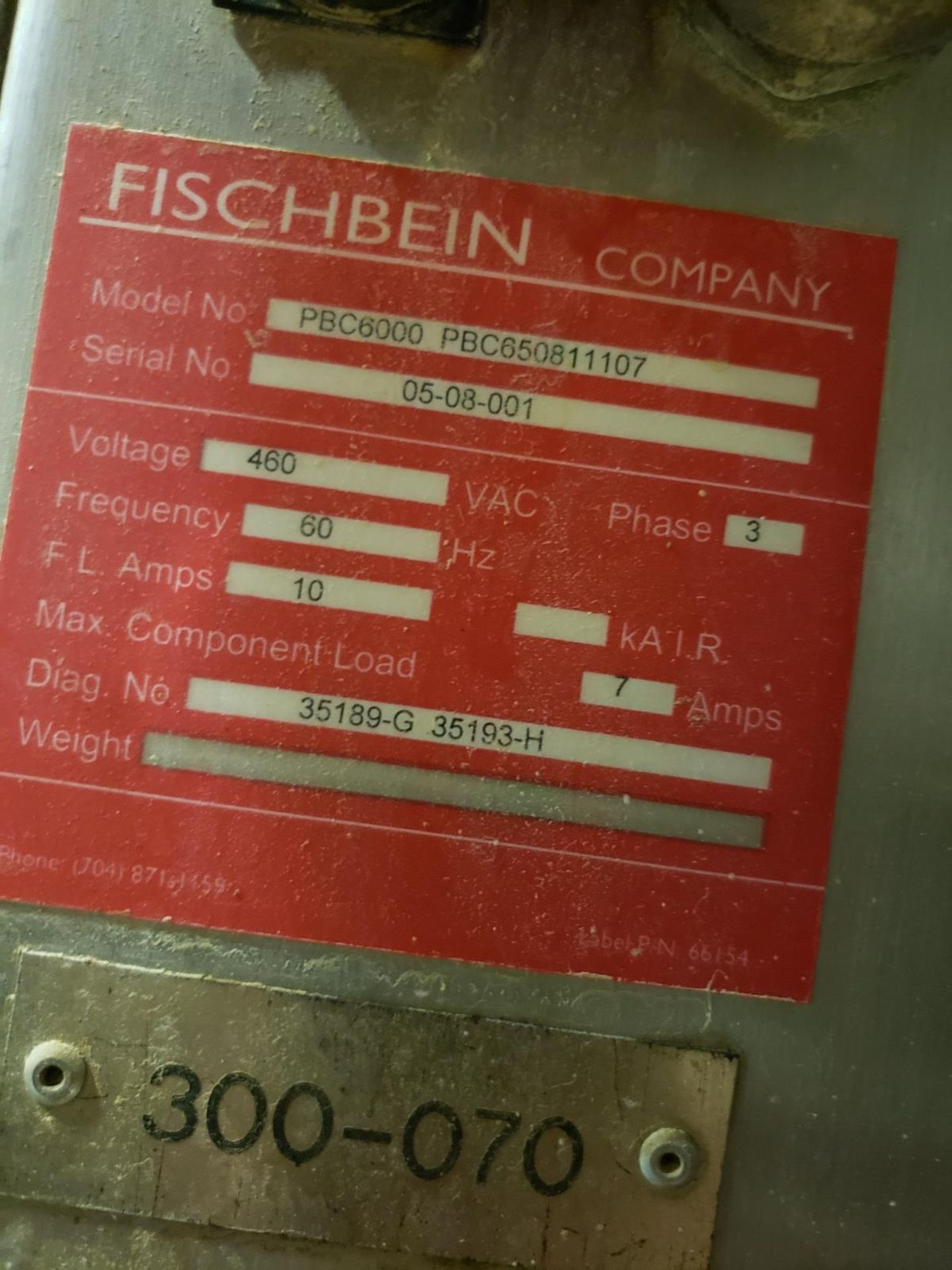 Lot 13 - Fischbein Bag Sealer, M# PBC6000 PBC650811107, S/N 05-08-001 - Loc: NJ | Rig Fee: $75