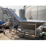 Stainless Steel Incline Flighted Conveyor with Hopper   Rig Fee: $250 See Full Desc