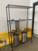 METRO RACK WITH (3) STAINLESS STEEL POTS, SCREEN AND STAINLESS STEEL PIPE CONNECTOR | Rig Fee: $50