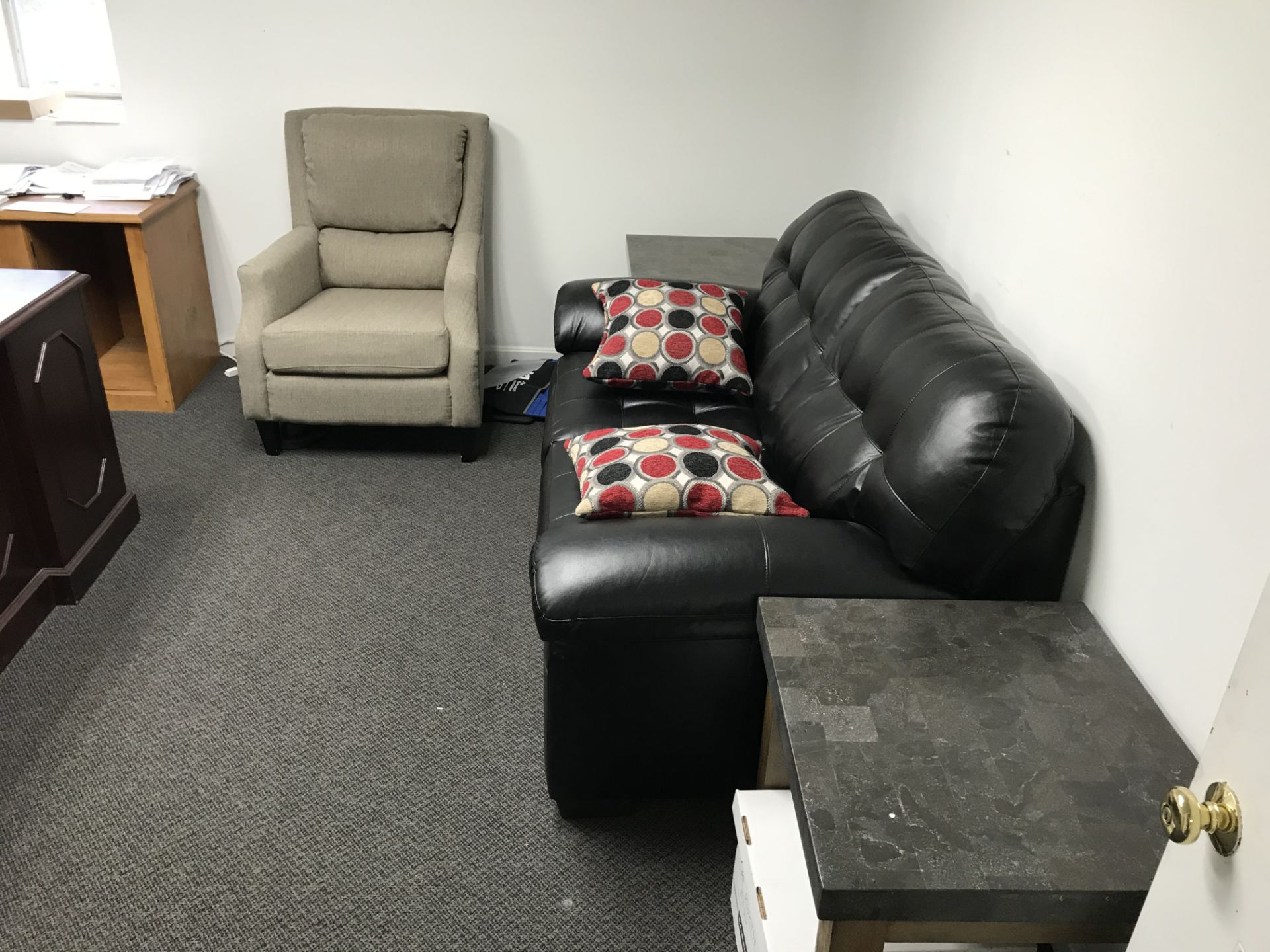 Lot 14 - {LOT} In Office, Desk, Chair, Files & Sofa (NO CPU, NO PHONE)