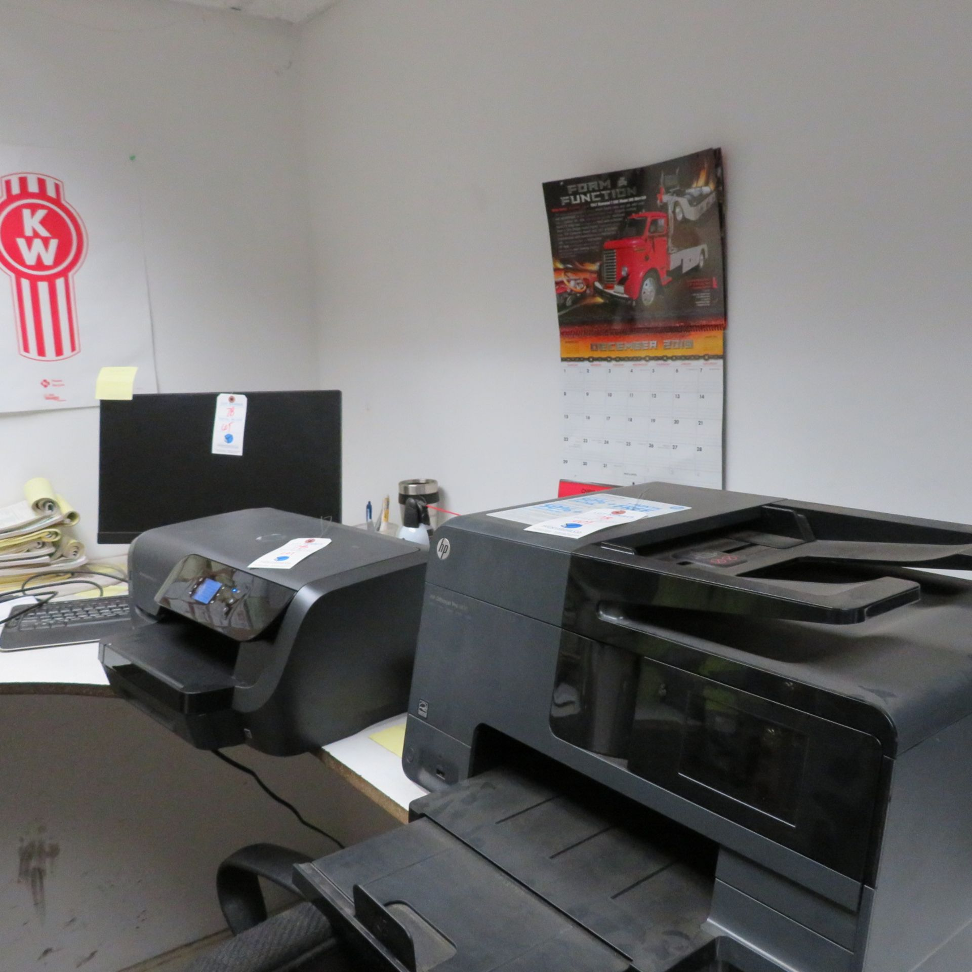 Lot 78 - {LOT} In Office c/o: 2 Printers, Monitor, (2) Mounted Monitors, Shippers Desk & 2 Stools (ONLY ITEMS