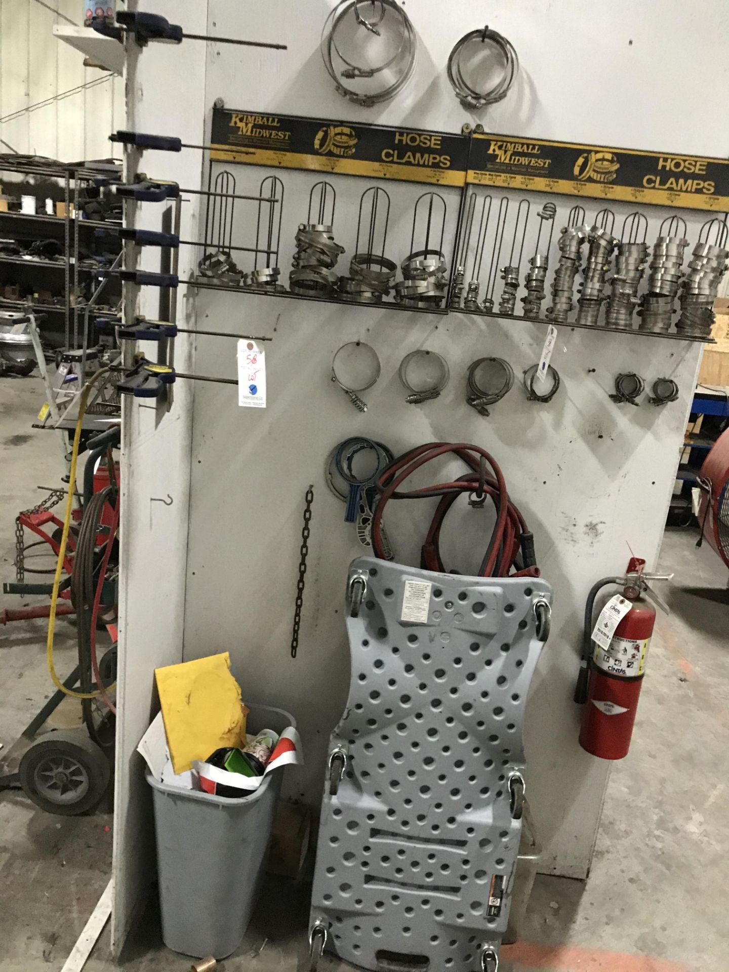 Lot 58 - {LOT} Asst. Clamps, Jumper Cables & Creeper