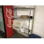 {LOT} 1 Erecta Shelf, 2 Door Storage Cabinet, Desk & Table