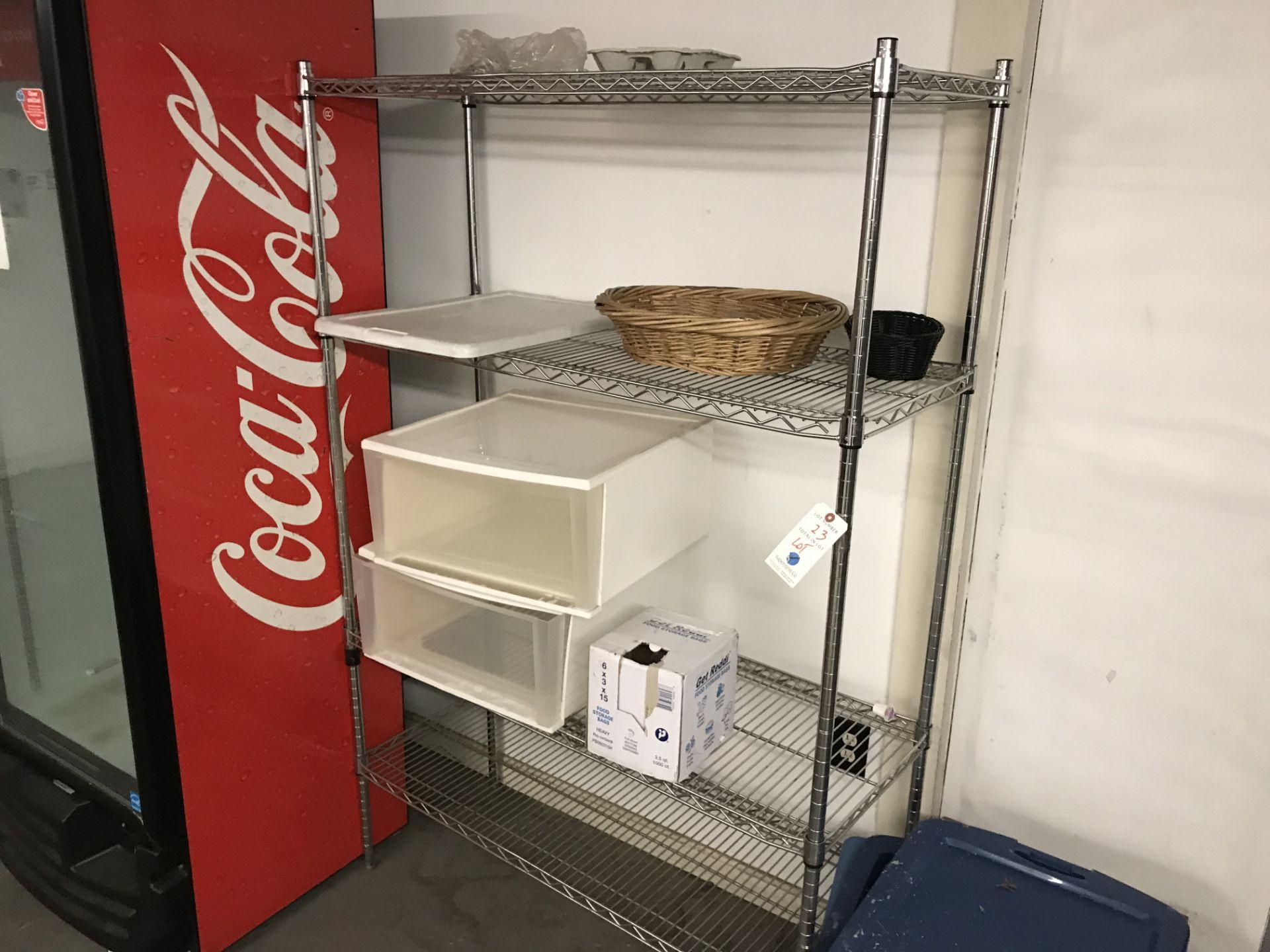 Lot 23 - {LOT} 1 Erecta Shelf, 2 Door Storage Cabinet, Desk & Table