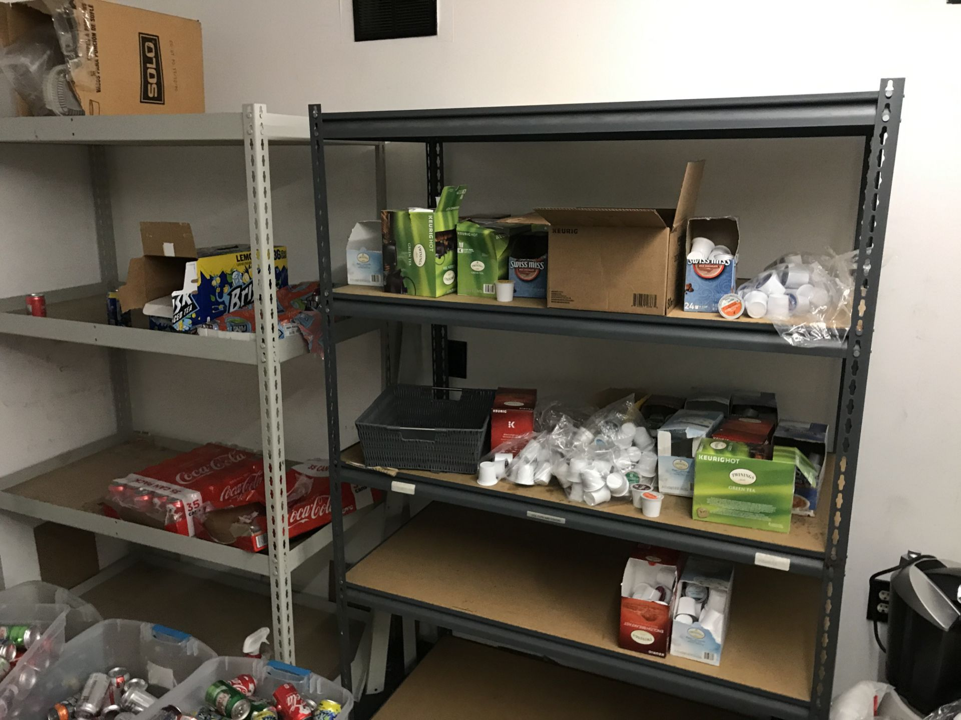 Lot 19 - {LOT} In Store Room c/o: Commissary Items, Shelving, Etc.