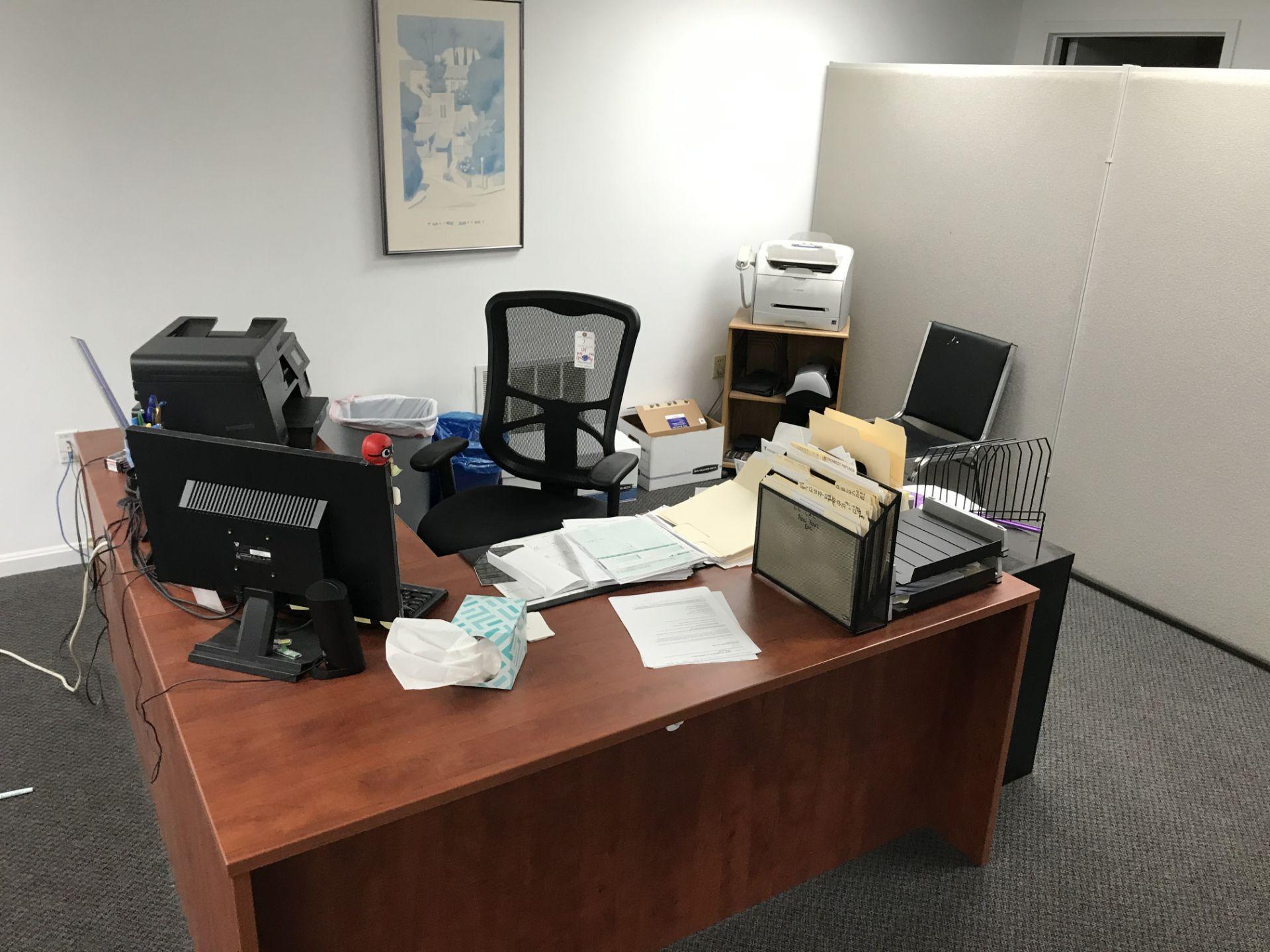 Lot 7 - {LOT} In Common Area c/o: L Shaped Desk, Chairs, Monitor, Printer, All in One, Partiton, (NO CPU, NO