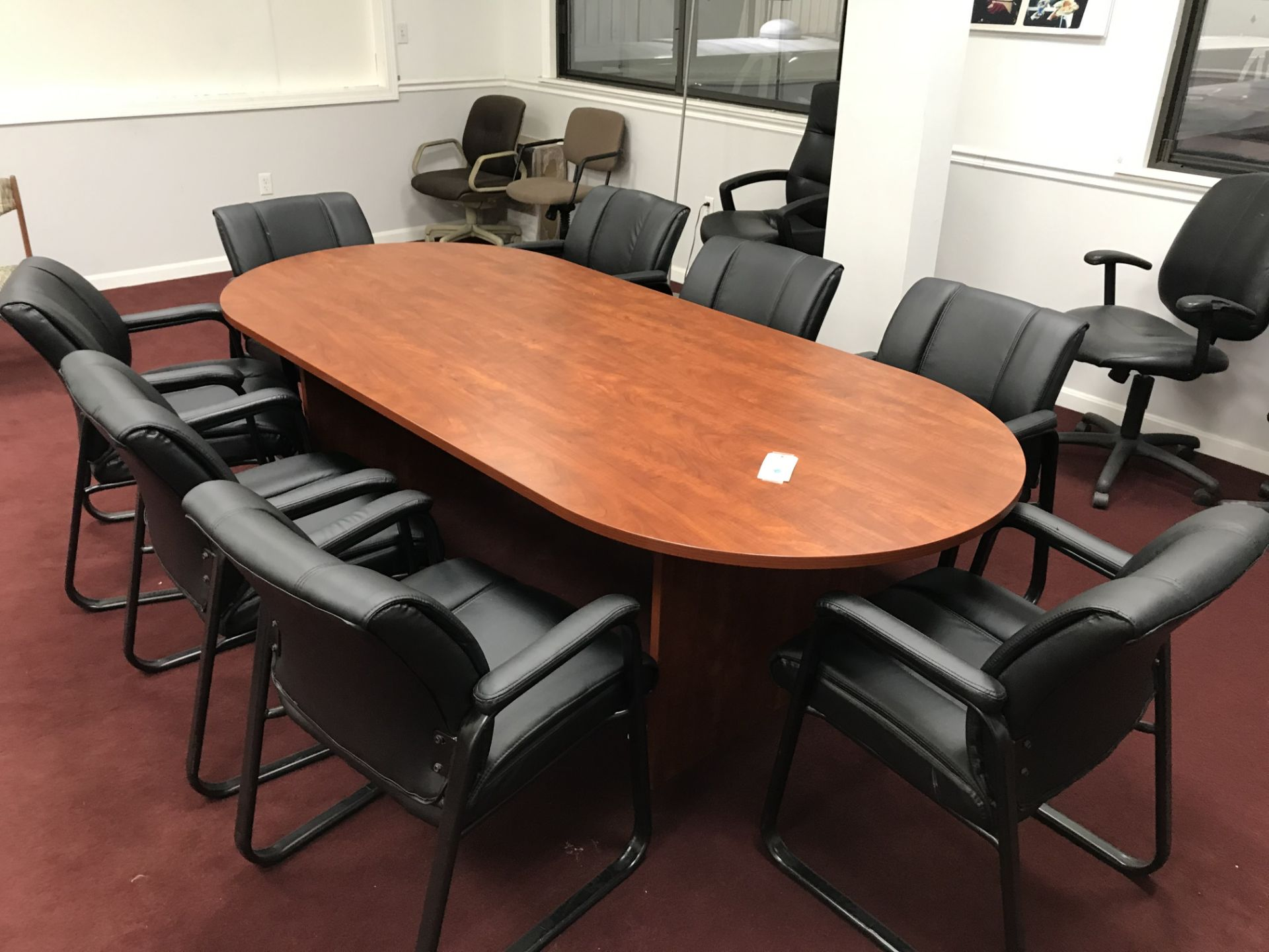 Lot 9 - {LOT} Approx. 8' Laminate Top Conference Table w/8 Sled Base Arm Chairs