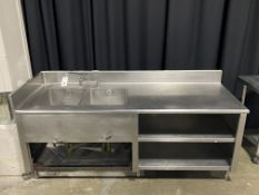 "86"" x 32"" All SS Double Sink Stand w/Backsplash & Storage Shelving Below"