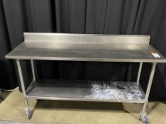 "72"" x 24"" All SS Portable Table w/Backsplash & Undershelf"