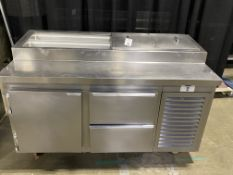 "Kairak #KBP65R Portable SS/SC 65"" Pizza Prep Stand w/2 Refrigerated Drawers & Door Unit & Digital"
