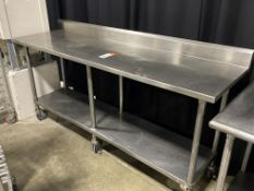 "84"" x 24"" All SS Portable Table w/Backsplash & Undershelf"