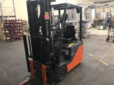 """2016 Toyota #8FBES150, Electric 3-Wheel Forklift, 189"""", 3 Mast, 3000 Lb. w/Hawker Charger - See Desc"""