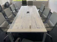 10' x 4' Wood Conference Table w/Beveled Top & Metal Anchors w/Electronic Input - Blue & White
