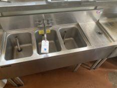"36"" Perlick 3 Compartment u-Bar Sink w/ 12"" Drain"