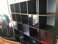 {LOT} Desks, Chairs, Racks, Cubbies, Shelving, Etc.