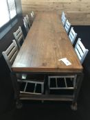 "10' x 28"" x 2 3/8"" Thick Solid Wood Communal Table w/Steel Frame & Adjustable Height Feet"