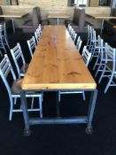 "12' x 42"" x 30""H x 2 3/8"" Thick Steel Leg Communal Table - Adjustable Feet (Heavy & Very Nice)"