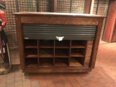 """Portable Enclosed Wood Merchandiser w/Tambor Door 63"""" x 54"""" x 26"""" w/16 Cubbies (No Key - Lock Unit"""