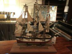 Charles W. Morgan Circa 1811 Wood Base Ship Model