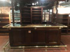 "54"" x 96"" U-Shaped Wood Front, Wood & Brass Top Bar w/Brass Foot & Elbow Rails & Overhead Wood"