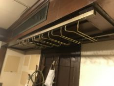 (2) Wood & Brass Ceiling Mounted Glass Racks