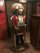 Native American Wood Carved Painted Statue